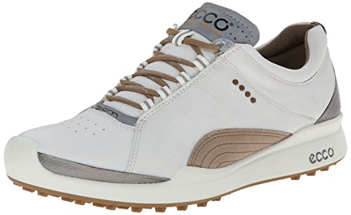 ECCO Women's Biom Hybrid Lace-Up Golf Shoe,White/Mineral,39 EU/8-8.5 M US