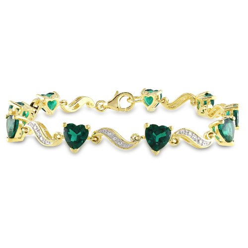 Yellow Gold Plated Sterling Silver Created Emerald and Diamond Bracelet (.02 cttw, H-I Color, I3 Clarity), 7