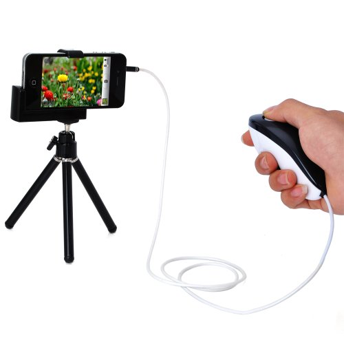 ATC Black Mini Tripod Stand Camera Video Holder + Shutter Cable for iPhone 4 4S 4G