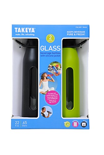 Takeya Classic Glass Water Bottle with Silicone Sleeve (2 Pack) (Takeya Glass Water Bottle compare prices)