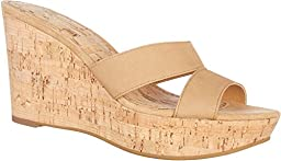 Nine West Womens Effie Wedge Sandals 7 Beige