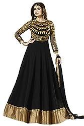 Janasya Women's Georgette Dress Material (HS-DR-007.A_Black)