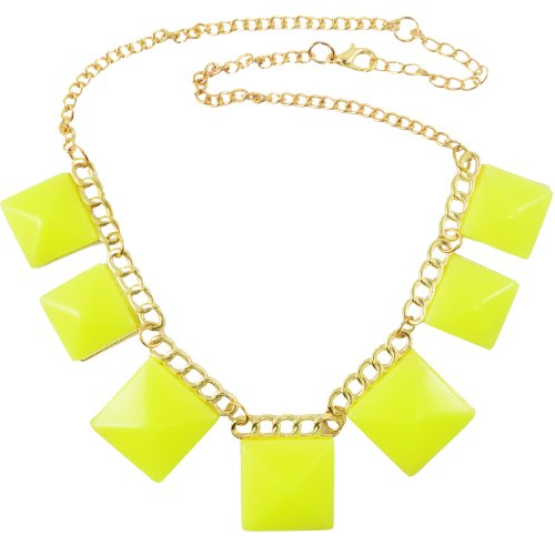 "DIOVANNI ""Yellow Revolution, Young Diva\"" Geometric Statement Necklace"