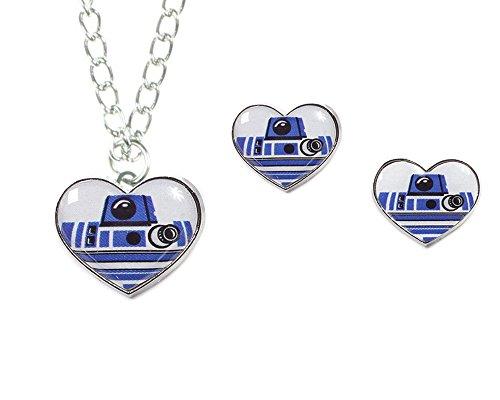 Disney R2-D2 Star Wars-Set di collana e orecchini a forma di cuore