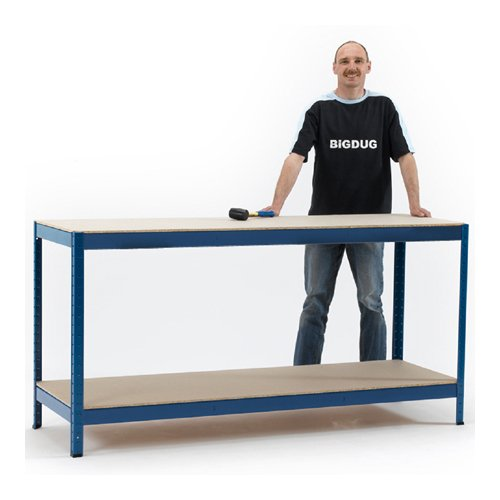 Industrial Workbench with 2 chipboard shelves.  350kgs UDL per shelf.  900h x 1800w x 600mmd.