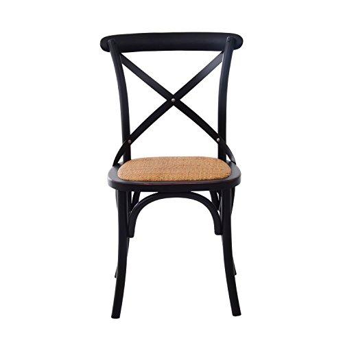 HomCom Vintage-Style X Back Elm Wood Dining Chair - Set of 2 (Black) 2