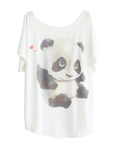 """Luna et Margarita Donna bianca manica a pipistrello modello T-shirt """"Panda progettato"""" girocollo formato misto cotone 48 50"""