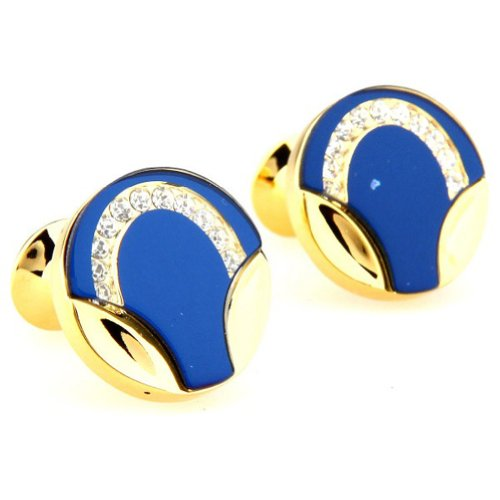Beour White-gold-plated-silver Gole and blue copper cufflinks