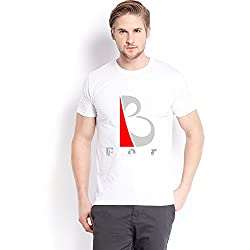 Trendster B Letter Printed Cotton White T Shirt