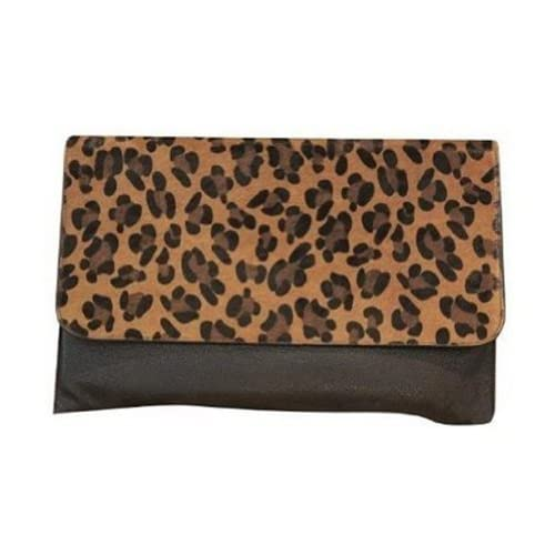 Eforcase Fashion Women's Leopard Print Envelope Faux Leather Purse Clutch Handbag for Girls