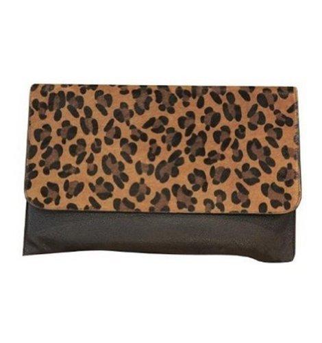 Eforcase Fashion Women's Leopard Print Envelope Faux Leather Purse Clutch Handbag for Girls