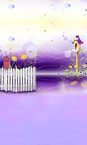 6.5 Ft*5 Ft) Backgrounds 200cm*150cm Romantic Purple World Bird House Fence Mailbox 3d Photography Backdrops K-1999