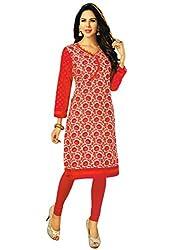 Salwar Studio Women's Pink & Orange Cotton Floral Printed Kurti Fabric