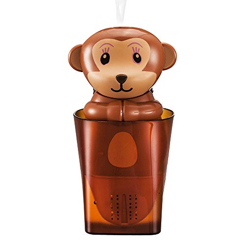 Haoran Lucky Monkey Potted Plant Humidifier, USB Powered Mini Cool Mist Cute Air Purifiers Diffuser Humidifier for Baby Office with Nutrient Soil and Wheat Seeds, Brown