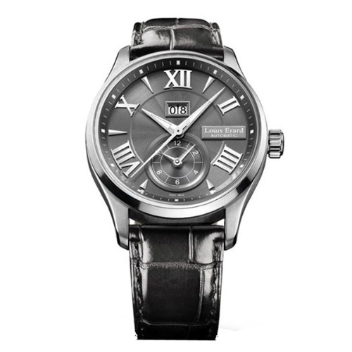 Louis Erard Men's 82216AA23.BDC02 1931 44mm Automatic GMT Grey Dial Leather Date Watch