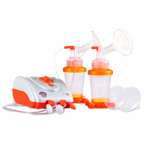 Mebby Electric Breast Pump Gentle Feed Duo Including Black Carry Bag (Orange and White)