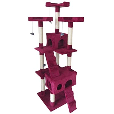 Leopet Cat Tree Scratching Post (Height ca. 170 cm) Cat Kitten Playing Climbing Activity Scratcher Centre with Caves and Houses