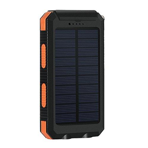 Eonfine-正規品 10000mAh 大容量 ソーラーチャージャー モバイルバッテリー 緊急防災用 SOS機能付き 羅針盤が付き 防水 防塵 耐衝撃 LEDライト付き 旅行 キャンプの良品 iPhone iPad iPod Xperia Galaxy Nexus等対応 2USBポート 二つの充電方法 ソーラー パワーバンク (オレンジブラック)