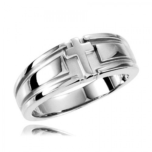 Sterling Silver Grooved Cross Women'S Wedding Band