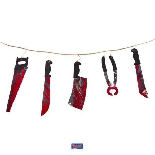 Girlande * WHY SO SERIUS * für Party und Geburtstag // Kindergeburtstag Kinder Feier Fete Set Partykette Halloween Messer Blut Horror