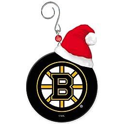 Boston Bruins Team Puck with Santa Hat Christmas Ornament