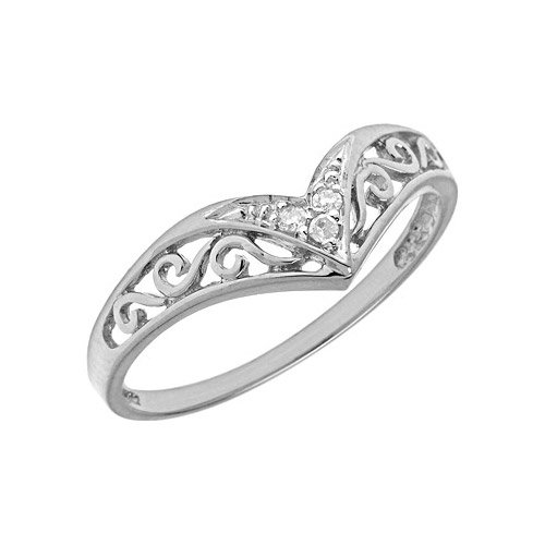10K White Gold Diamond Chevron Ring (Size 6.5)
