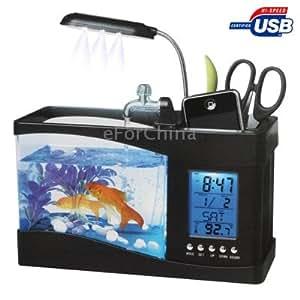 Usb desktop aquarium mini fish tank with running water and for Usb fish tank