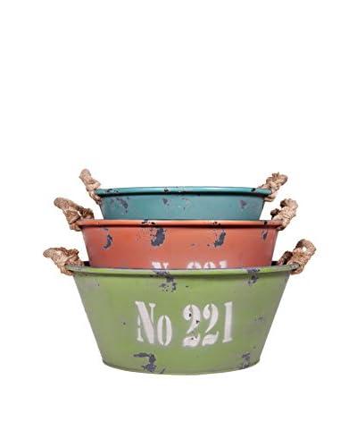 Home Essentials Set of 3 No 221 Nesting Metal Buckets