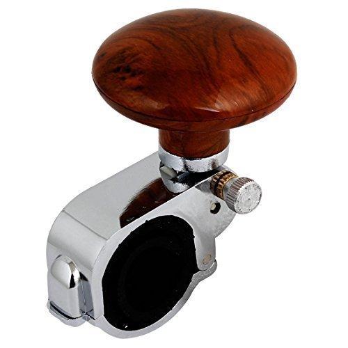 sourcingmapr-auto-veicoli-venatura-del-legno-volante-aid-manopola-pomello-spinner-marrone