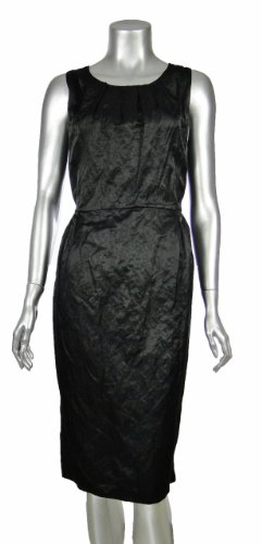 Eileen Fisher Steel Satin Round Neck Sleeveless Dress Large Black [Apparel]