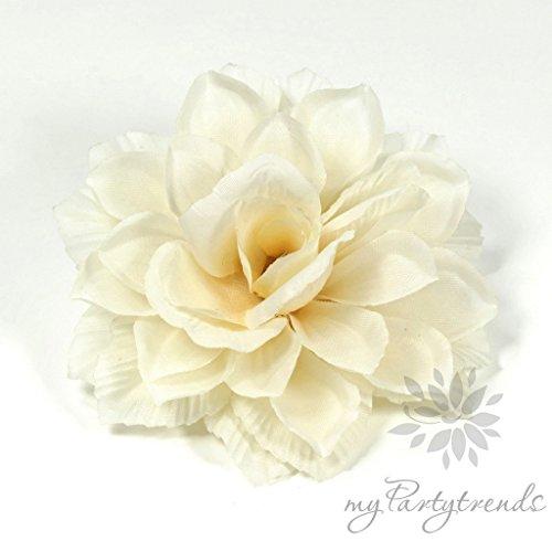 Ansteckblume, Haarblume Dahlie in hellbeige (Ø 13 cm; Höhe 4,5 cm) mit Krokodilspange und Anstecknadel von myPartytrends (Haarblüte, Haarschmuck)