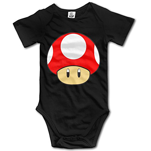 PTCY Super Cute Mushroom For 6-24 Months Toddler Short Sleeve Romper Outfits 18 Months Black