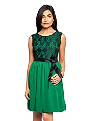 Green Color Dress With Black Lace And Satin Belt