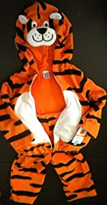 Carter's Little Occasions Baby Tiger Costume Orange Black Stripes Zippered Top Pants NEW (6-9 Months)