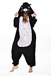 VU ROUL Men's Adult Clothing Kigurumi Cosplay Cat Costume Pyjamas Black