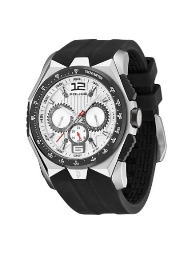 Police Hurricane Men's Quartz Watch with Silver Dial Analogue Display and Black Rubber Strap PL.12894JSSB/04