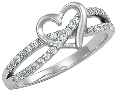 Promise Ring for Her: Sterling Silver Double Twisting CZ Simulated Diamond Heart Promise Ring, Sz 9