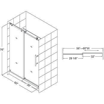 DreamLine Enigma-X 56-60 in. Width, Frameless Sliding Shower Door, 3/8