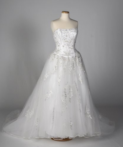 White Tulle Wedding Gown with Platinum and Gold Accents