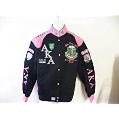 Buy New Alpha Kappa Alpha Black & Pink AKA Snap up Sorority Jacket Ladies by Big Boy Gear