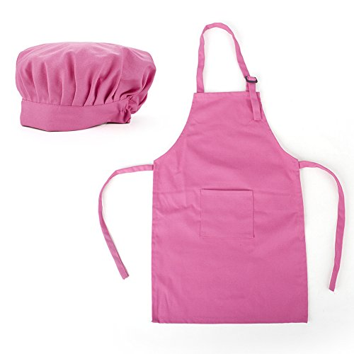 Opromo Colorful Cotton Canvas Kids Aprons and Hat Set, Party Favors(S-XXL) HOTPINK-S (Chef Apron Hat Kids compare prices)