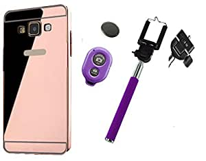 Novo Style Back Cover Case with Bumper Frame Case for Samsung Galaxy On7 Rose Gold + Selfie Stick with Adjustable Phone Holder and Bluetooth Wireless Remote Shutter