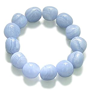 Amulet Healing Blue Lace Agate Tumbled Crystals Natural Powers Gemstone Bracelet