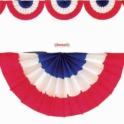 Patriotic Crepe Paper Bunting, 9ft