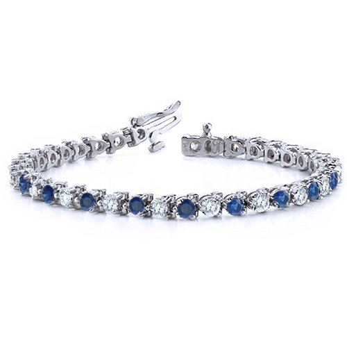 Natural Sapphire and Diamond Bracelet in 18k