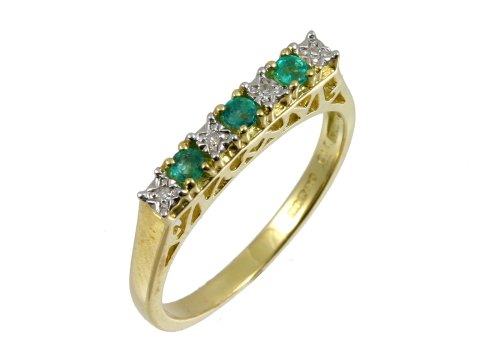 Eternity Ring, 9ct Yellow Gold Diamond and Emerald Ring, Claw Set