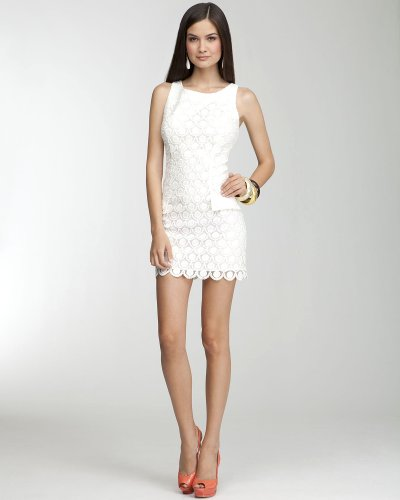 Buy Bebe Boatneck Eyelet Dress White Size Large from bebe
