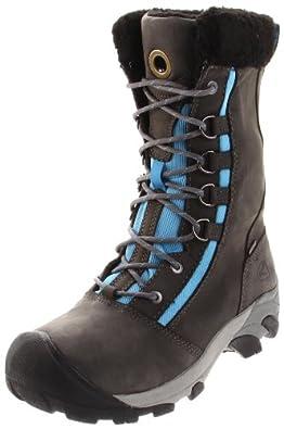 KEEN Women's Hoodoo High Lace-Up Waterproof Winter Boot,Gargoyle/Azure Blue,6.5 M US