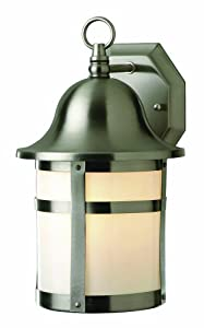 Trans Globe Lighting 4580 BN 12-1/2-Inch 1-Light Outdoor Wall Lantern, Brushed Nickel