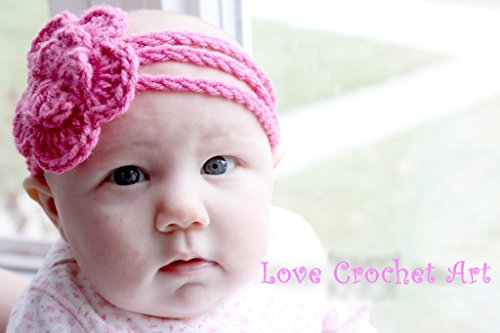Love Crochet Art Crochet Baby Headband For New Born Baby Pink  available at amazon for Rs.99